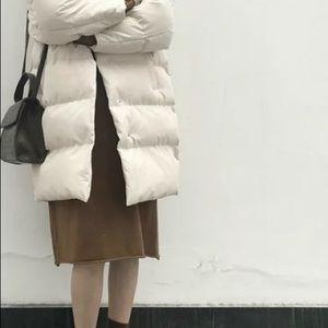 Cream winter puffer Korean fashion